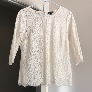 3/4 length sleeve white lace top.